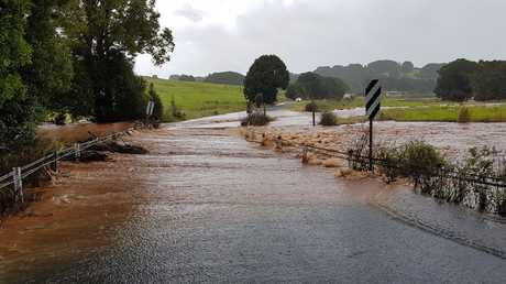 Flash flooding at Pearces Creek, south of Clunes, on Sunday.
