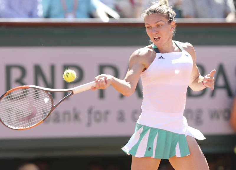 Simona Halep of Romania hits a shot during the woman's single final against Jelena Ostapenko of Latvia at the French Open tennis at Roland Garros in Paris, France on June 10, 2017.