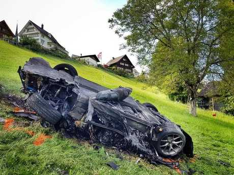 This photo issued by Freuds shows the car that was involved in a crash where Richard Hammond escaped serious injury, in Switzerland, Saturday June 10, 2017.