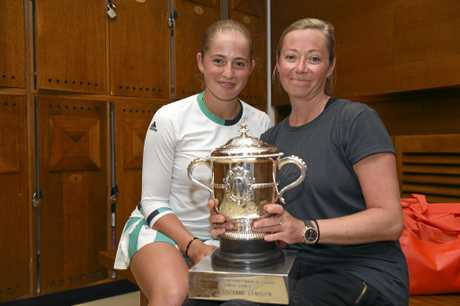 Latvia's Jelena Ostapenko and her mother Jelena were all smiles in the locker room after winning Jelena won the women's final of the French Open.