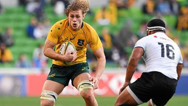 ROOKIE AUSSIE: Ned Hanigan had a strong debut for the Wallabies. His brother Charlie 'delayed' his university graduation on the Gold Coast to watch the Melbourne match.