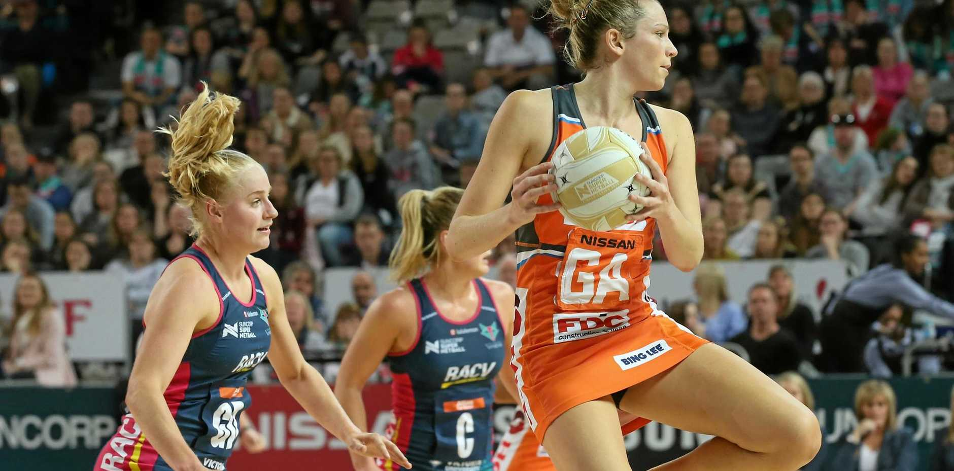 GRAND FINAL BOUND: The Giants' Jo Harten in action in the side's win over the Vixens in Melbourne.  The Giants will go on to play the Sunshine Coast Lightning in the final.