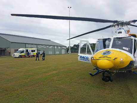 RACQ CQ Rescue has landed on a sports field at Carmila today to airlift a five-year-old girl seriously injured when crushed by a horse on her family's property.