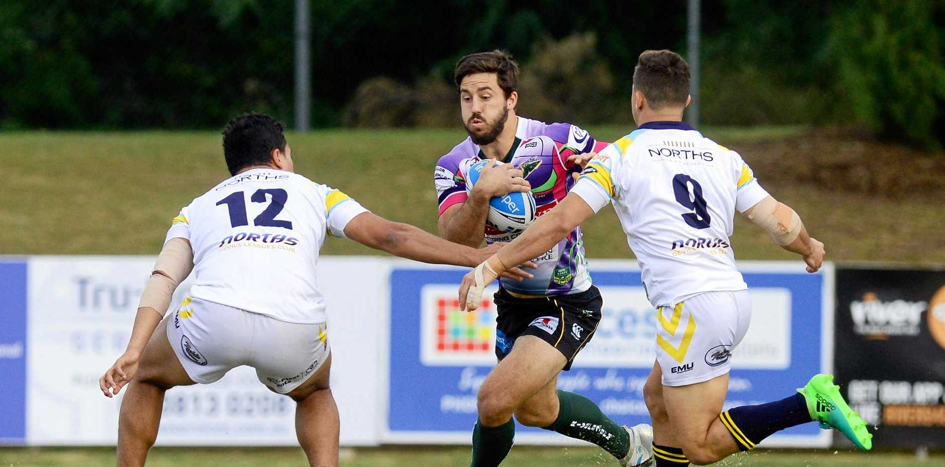 WELL PLAYED: Ben Hunt at the Rugby league Queensland Cup match between Ipswich Jets Vs Norths Devils at North Ipswich Reserve.
