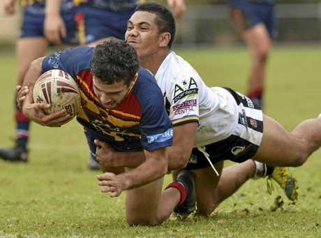 TRY TIME: Western Mustangs five-eighth Wally Pegler crosses for a try against Souths-Logan at Gold Park.