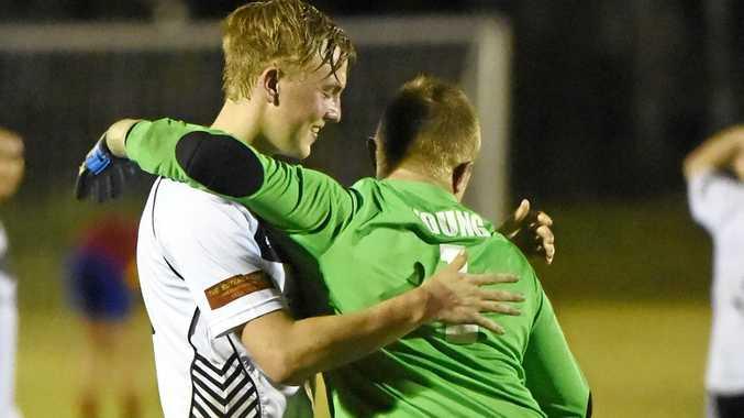 Doon Villa goalkeeper Adam Young celebrates at fulltime.