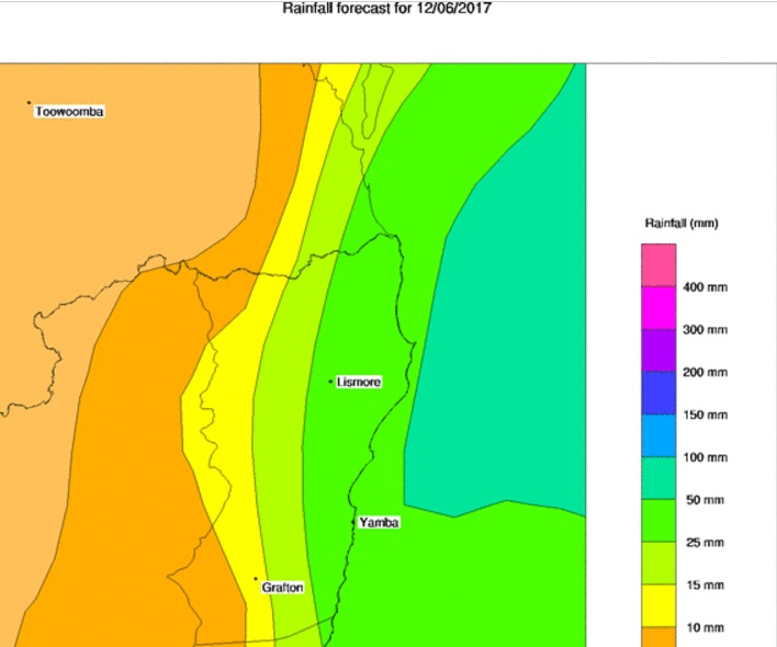 BoM rainfall forecast - Northern Rivers - Monday June 12.