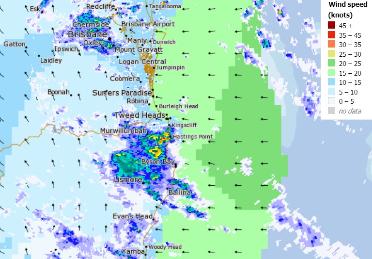 Conditions at 10am, Sunday. source: BoM.