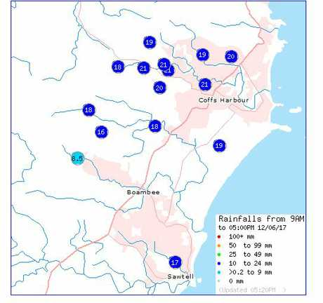 The rainfall was constant but not as heavy throughout Monday over the Coffs Coast.