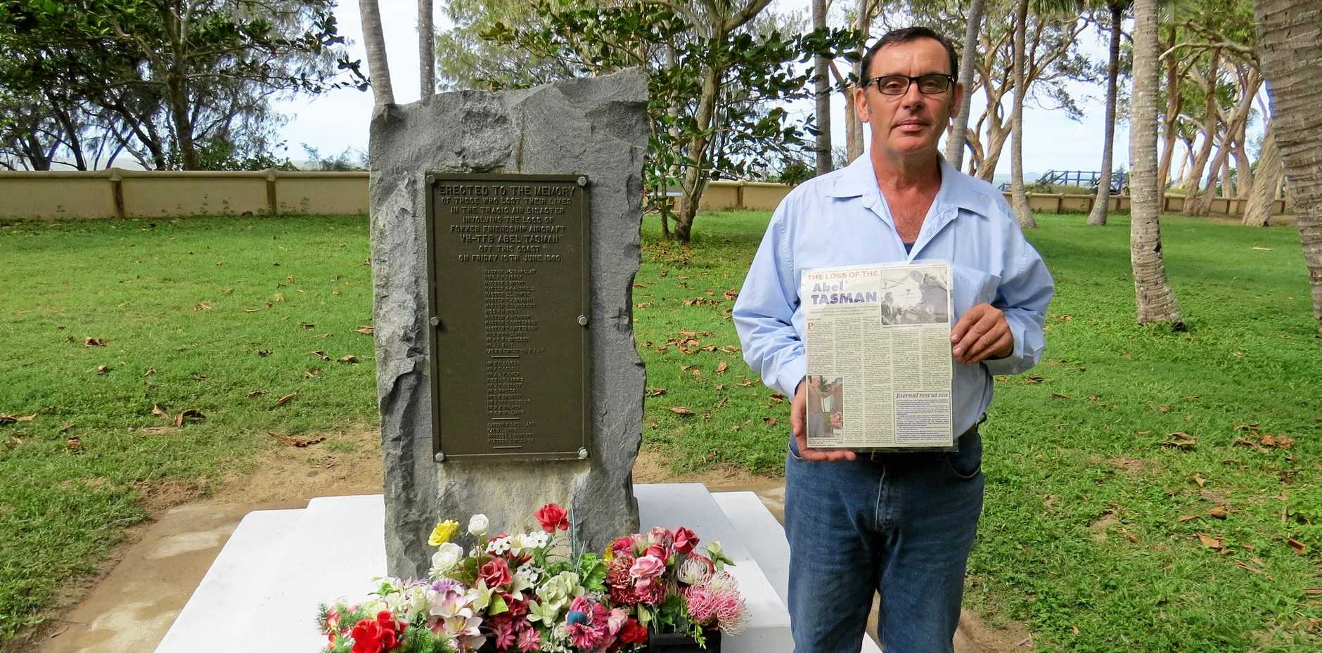 Andrew Barclay, who says there has been a cover-up, at the crash memorial at Far Beach
