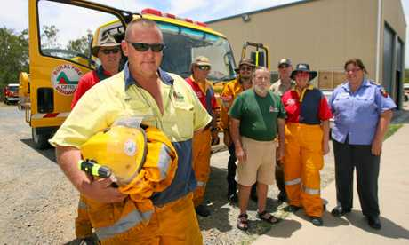 Strike team leader Brad Kingston (front) with Gary Dash, Steve Hardsman, Doug Veach, James Zurvas, Gael Hardsman, Phil Shaw and Marie Weisse are heading to the North Coast where there are some 70 fires burning.   Photo: Chris Ison / The Morning Bulletin