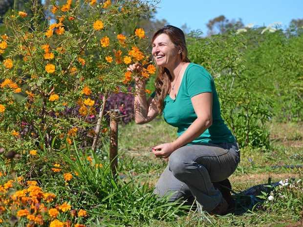 Pretty Produce owner Simone Jelley runs an edible flower farm from Lamb Island.