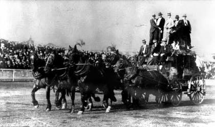 A horse team in the main arena at the Ekka in 1925.