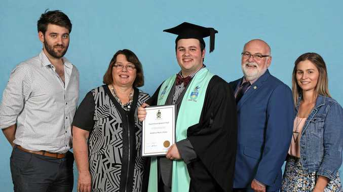 FAMILY OF SCHOLARS: Bachelor of Theatre graduate Daniel O'Neill with his family (from left) brother Jonathan, mother Dr Lynne Mulholland, father Brian, and sister Felicity Lydon.