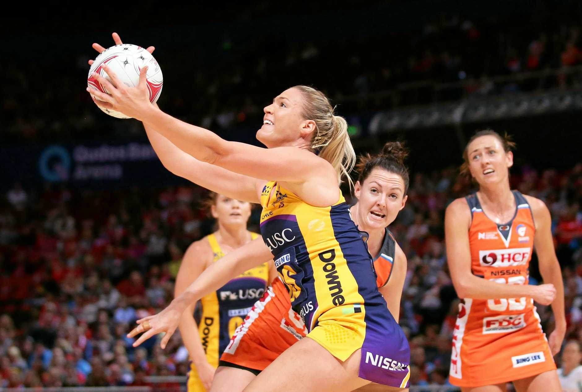 ON THE BALL:  Caitlin Bassett of the Lightning catches during the round 14 Super Netball match between the Giants and the Lightning at Qudos Bank Arena last month in Sydney.