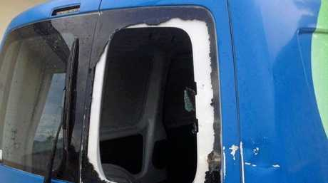A brick was thrown through the back window of a Friends of RSPCA Gladstone van on Sunday night.