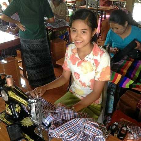A Myanmarese woman hard at work.