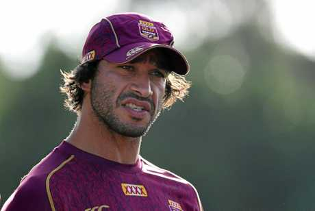 Johnathan Thurston looks on during the Queensland State of Origin team training session at Sanctuary Cove on the Gold Coast Thursday, May 25, 2017. (AAP Image/Dave Hunt) NO ARCHIVING