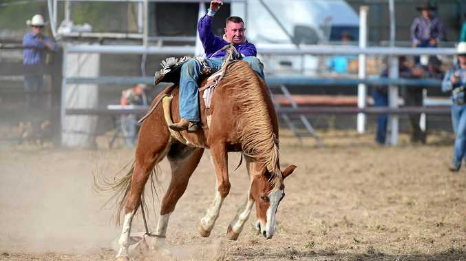 Jack Boyd in the bareback at Bowen River Rodeo.