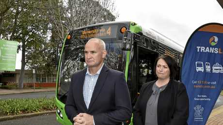 Glenn Butcher, Assistant Transport Minister at USQ to launch new buses, extension of bus services. June 12, 2017