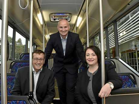 ON THE BUS: Assistant Transport Minister Glenn Butcher, with Toowoomba North ALP candidate Kerry Shine and Jodie Weller, regional manager TransLink, has revealed further details about the new bus system.
