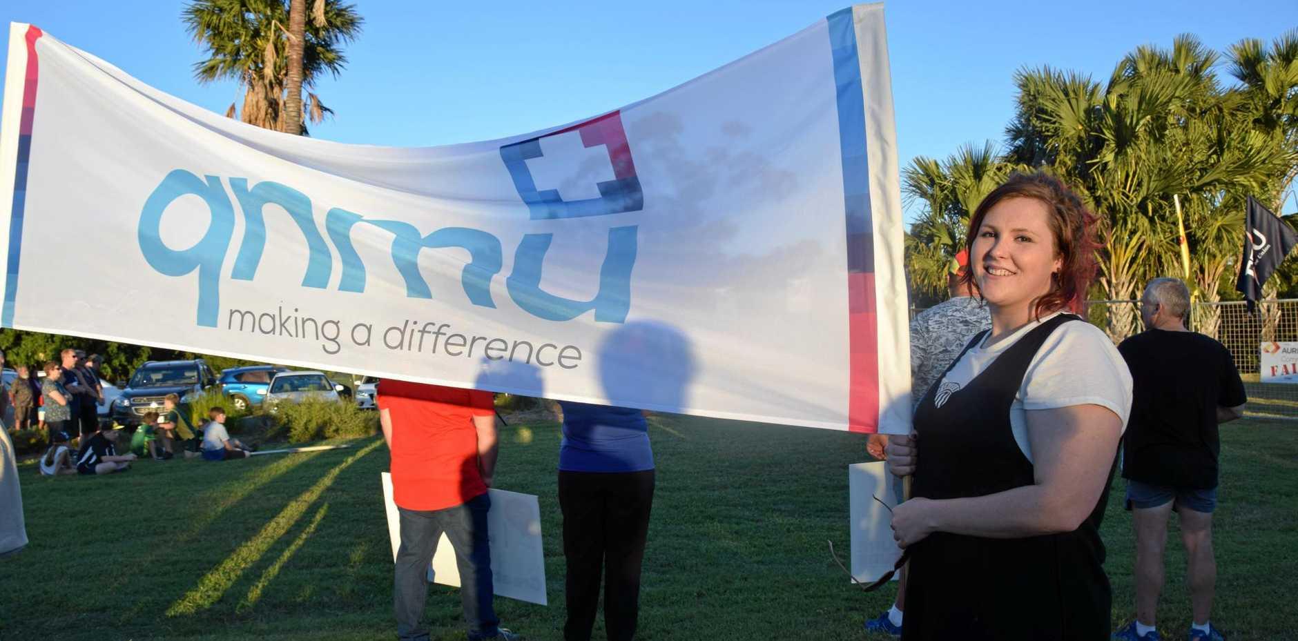 QNMU's Rachael Dixon showing her protest against Aurizon's job cuts in Rockhampton.