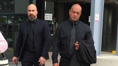 Security guard Dennis Hecta Tipene Faulkner (right) pleaded not guilty in the Southport District Court to one count of grievous bodily harm.