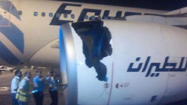Damage to the left engine of an Egypt Air A330 after takeoff in Cairo on May 17, 2017.