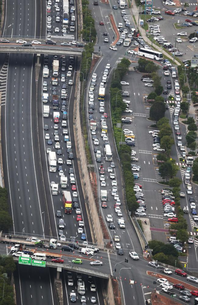 The M1 gets heavily backed up when a serious crash occurs. Picture: Glenn Hampson