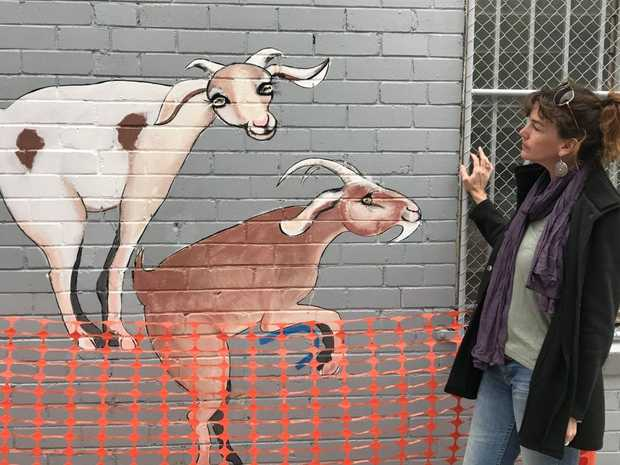 Maryborough artist April Spadina with her artwork installation that was vandalised.