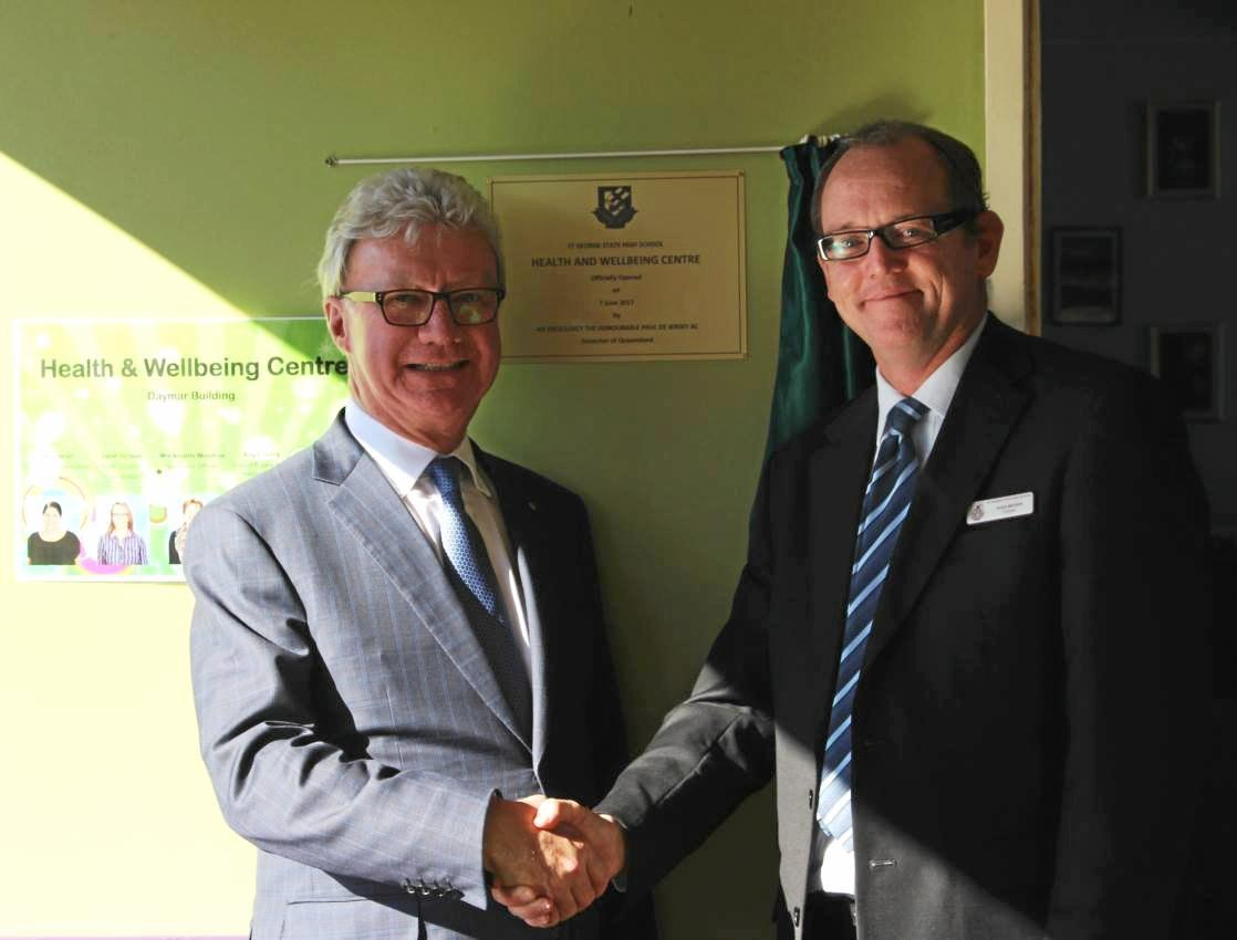 OPENING: Queensland Governor Paul de Jersey opened the new Health and Wellbeing Centre at St George State High on Wednesday. He is pictured with principal Doug Watson.