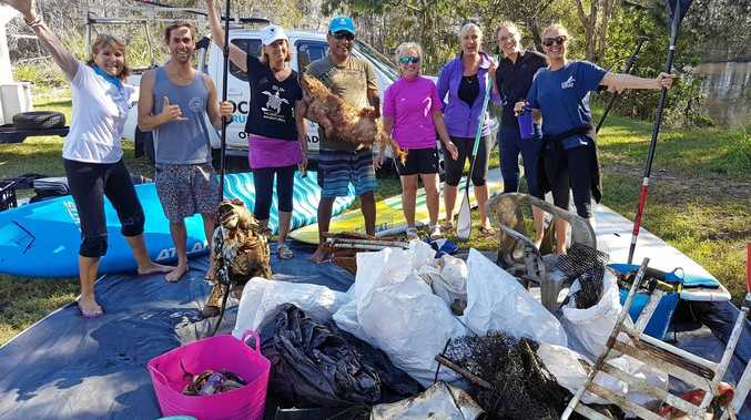 PADDLE AGAINST PLASTIC: The Ocean Crusaders group picked up 107kg of debris from Stumers Creek.
