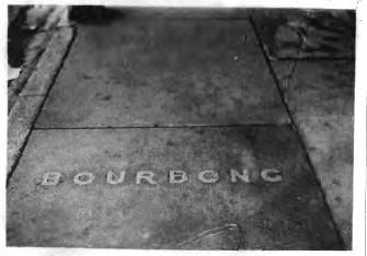 Photo taken in May 1949 featuring white text in red cement. Photograph supplied by GW Helon.