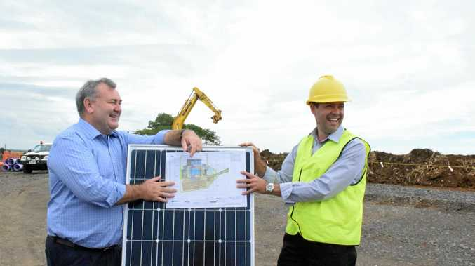 SOLAR PLAN: Jack Dempsey and Adam Wyatt at the Rubyanna Waste Water Treatment Plant site.