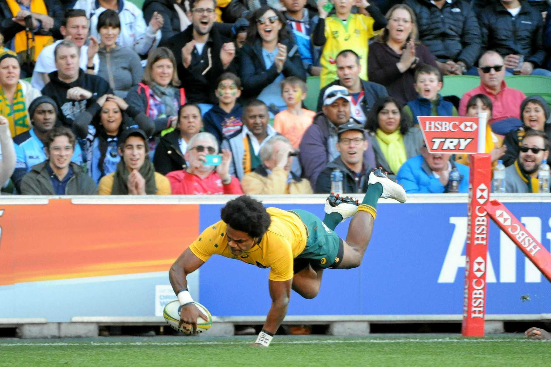 Henry Speight of the Wallabies dives to score the side's second try, during an international test match between the Wallabies and Fiji, played at AAMI stadium in Melbourne, Saturday, June 10, 2017.(AAP Image/Joe Castro) NO ARCHIVING, EDITORIAL USE ONLY