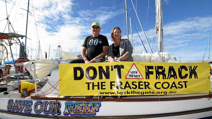 SETTING SAIL: Jorge Pujol and Vicki Perrin from the Wide Bay Burnett Lock the Gate Alliance as he prepares to set sail for Cairns.