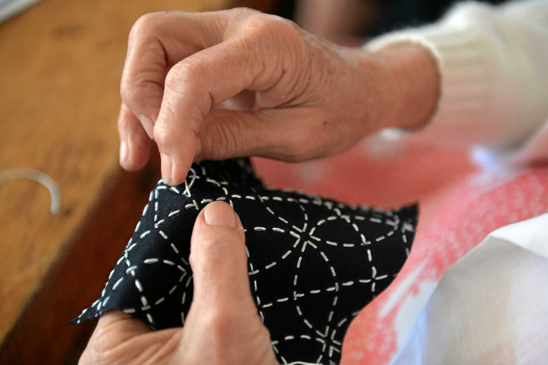 A piece of Sashiko being worked on.