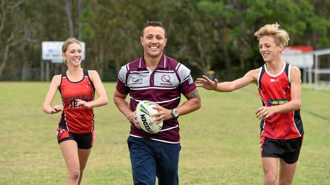 FOR THE KIDS: Scott Prince with U/16 Hervey Bay players Skye Houliston and Jaspa Wright ahead of the Junior State Cup.