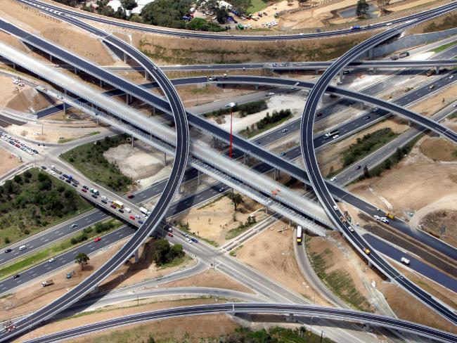 Aerial view of new Westlink M7 orbital motorway at junction with M4 at Eastern Creek in Sydney.