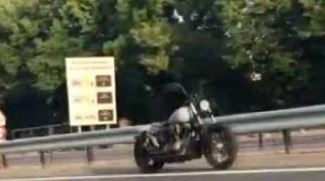 The riderless bike can be seen cruising along a Paris motorway. Picture: Le ParisienSource:Supplied