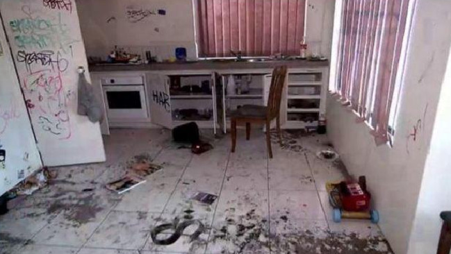 The kitchen in the damaged rental property in Perth.