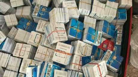 Over 350,000 locally sourced SIM cards were also found.