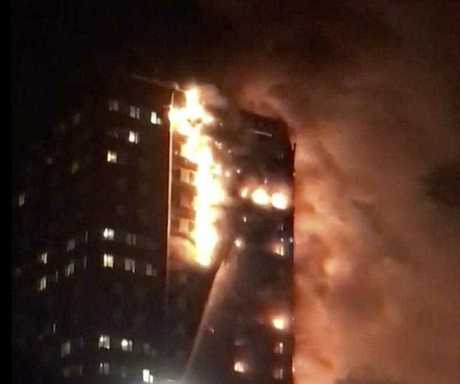 The blaze as it tore through Grenfell Tower, a residential block in north London, with some witnesses reporting