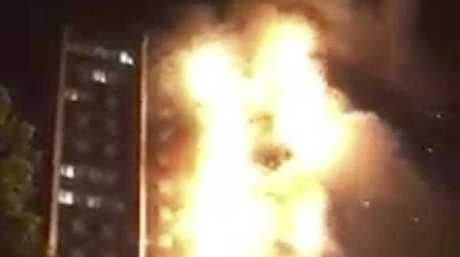 FIREFIGHTERS are battling a huge raging inferno that has engulfed a block of flats in north London. Shocked onlookers filmed the blaze as it tore through Grenfell Tower, a residential block in north London, with some witnesses reporting