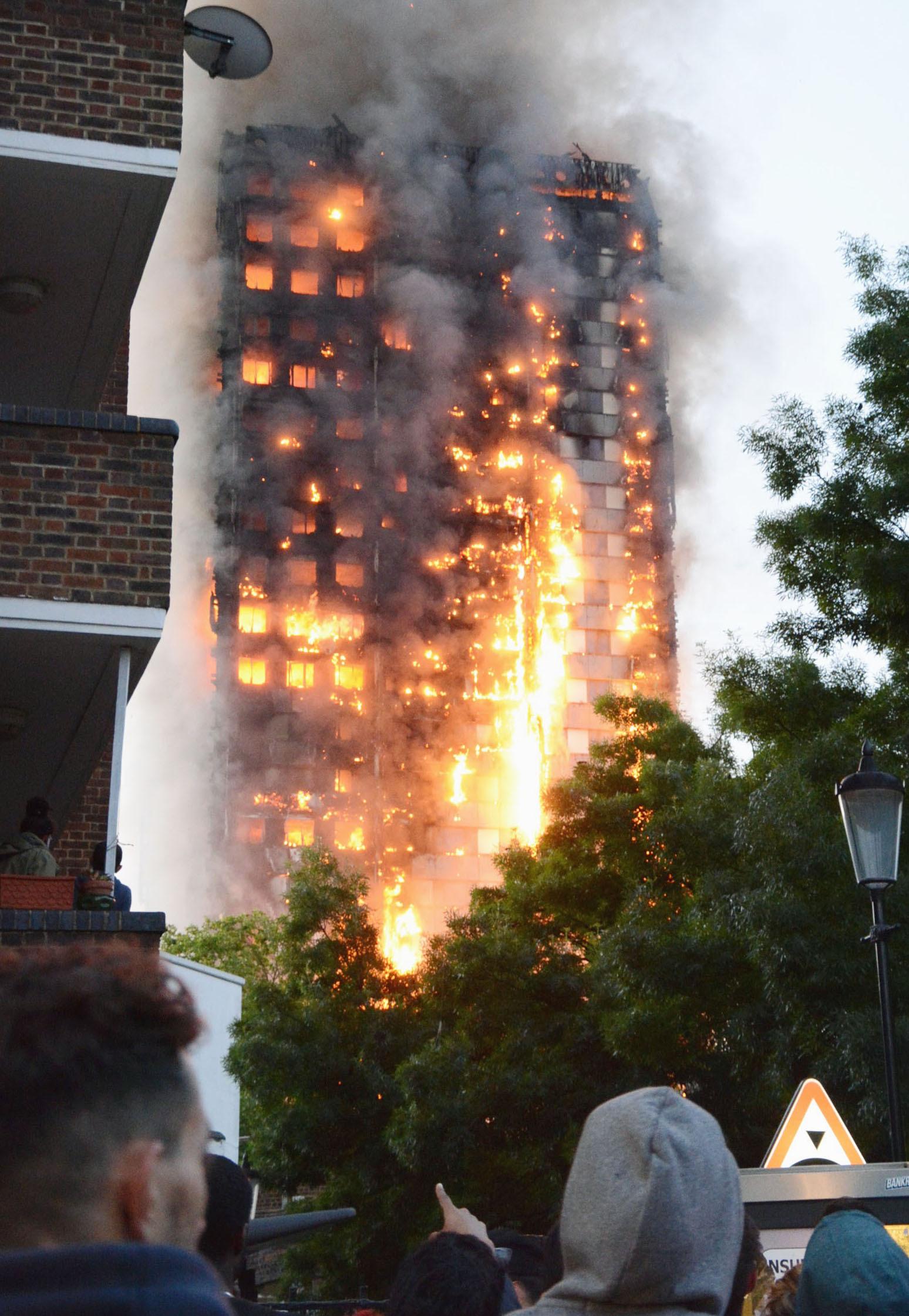 The high-rise condominium in London in flames.