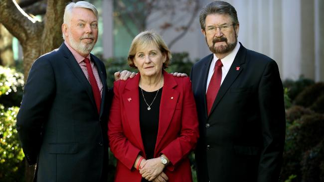 Justice campaigners Bruce and Denise Morcombe with Senator Derryn Hinch before a media conference, to announce the relaunch of his petition calling for a national public register of convicted sex offenders, at Parliament House in Canberra.Source:News Corp Australia