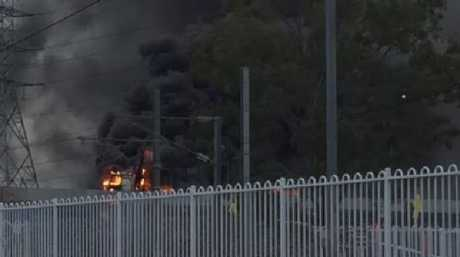 A truck fire on the Gateway Motorway at Boondall. Picture: Brooke Jacobson