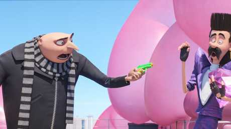 Gru attempts to apprehend Balthazar in a scene from Despicable Me 3.