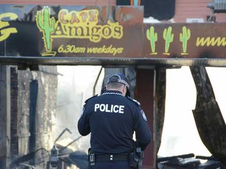RUBBLE: What's left of Amigo's Mexican Restaurant the morning after it was destroyed by fire.