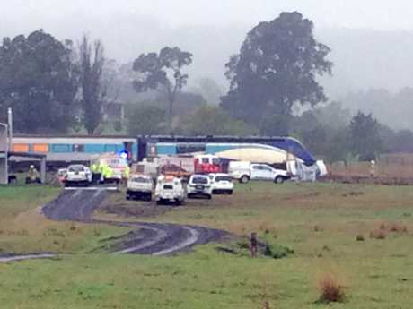 The scene of a fatal crash between the XPT train and a car at the crossing on Yongurra Road and Andrew Street at Kyogle..